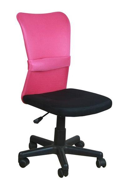 OF-0539 gyerek forgószék, fekete hálós ülés és rózsaszín hálós támla