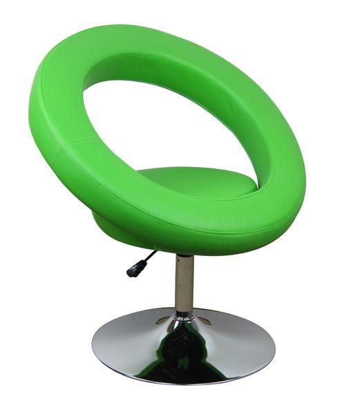 MF-7328 design coctail fotel króm, zöld textilbőr, gázliftes