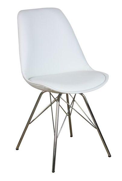 MF-8121 kárpitozott szék, króm, fehér textilbőr