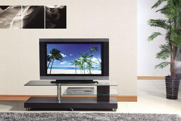 Stolik RTV-7 BIS TV állvány üveglapos króm, wenge 145x45x41 cm