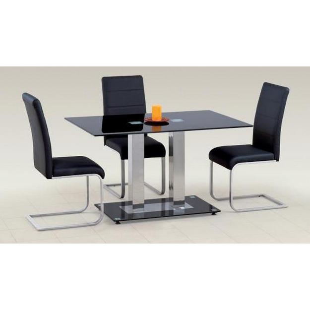 Walter II. asztal króm, fekete üveges 80x130