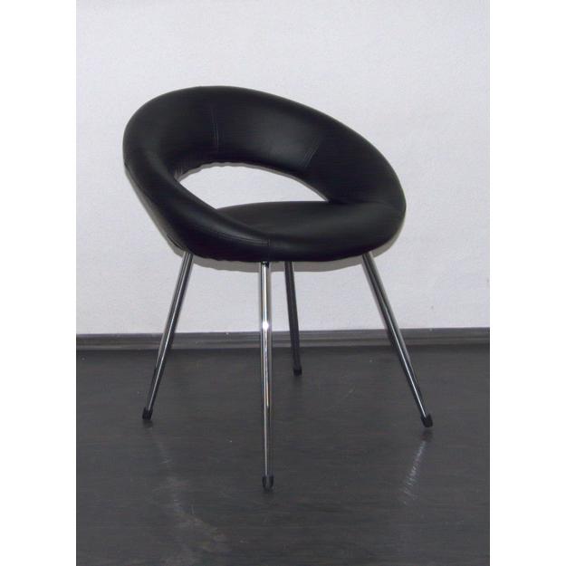 MF-4904 design retro fotel króm, fekete textilbőr