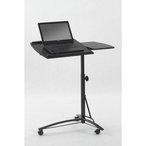 B-14 laptop állvány,fekete acél,fekete MDF,állítható