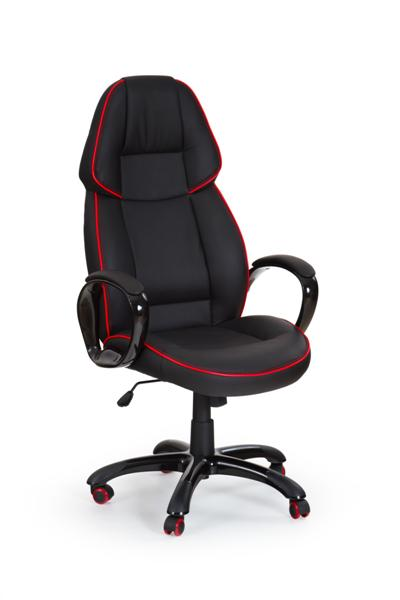 Rubin design irodai forgószék, fekete textilbőr, piros kéder