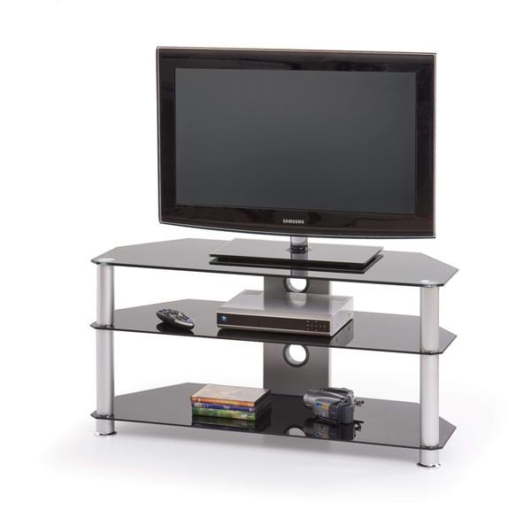 Stolik RTV-3 Tv állvány szürke üveglapos 100x40x51 cm