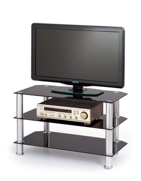 Stolik RTV-21 Tv állvány fekete üveglapos 80x40x50 cm