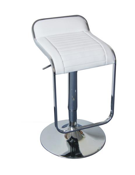MF-3931 design bárszék króm, fehér textilbőr