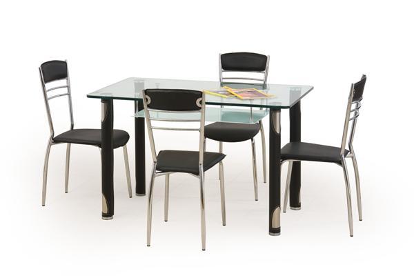 Gotard üveglapos étkezőasztal fekete 69x119 cm