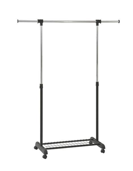 Wu-12 görgős szobainas/ruhaállvány, króm, fekete műanyag