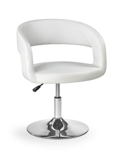 Hoker H-41 gázliftes fotel, króm, fehér textilbőr