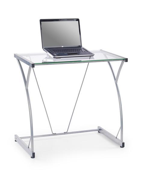 B-20 laptop asztal, szürke acél váz, átlátszó üveglap, 80x50x75