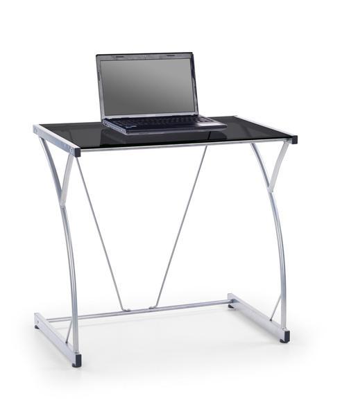 B-20 laptop asztal, szürke acél váz, fekete üveglap,80x50x75
