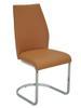 MF-6288 fémvázas kárpitozott szék króm, caramel textilbőr